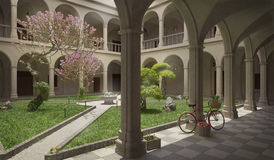 Ancient cloister, summer scene. 3D illustration Stock Images