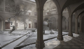 Ancient cloister, winter scene. 3D illustration Royalty Free Stock Images