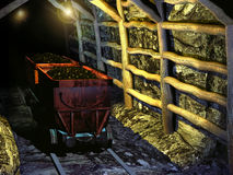 Ancient coal mine. Interior of an ancient coal mine Stock Photography