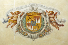 Ancient coat of arms on the Church wall, lake Bled island in Slovenia Royalty Free Stock Photos
