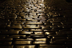 Ancient cobblestone pavement Stock Photos