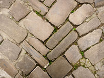 Ancient cobblestone pavement. Royalty Free Stock Photography