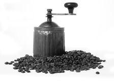 Ancient coffee grinder black and white photo Royalty Free Stock Image