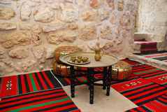 Ancient coffee house. Interior  of ancient coffee house in east style, Jerusalem Stock Photo