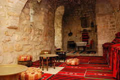 Ancient coffee house. Interior  of ancient coffee house in east style, Jerusalem Royalty Free Stock Photography