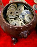 Ancient coin. In a curio market in China Stock Photography