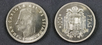 Ancient coin King Juan Carlos I stock photography