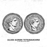 Ancient coin. Silver Roman tetradrachma of the time of Jesus Christ. Perhaps for such silver coins, Judas betrayed Christ vector illustration