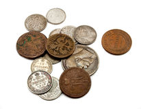 Ancient coins. Russia's old copper and silver coins Stock Photo