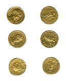 Ancient coins. Ancient roman coins isolated on white background Royalty Free Stock Image