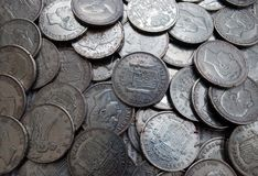 Ancient coins. Some old and valuable coins. are Spanish coins, most of the time of Alfonso XII and Alfonso XIII. Silver coins stock images