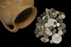 Ancient coins. In a pot Royalty Free Stock Photography