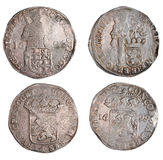 Ancient coins of different metals Royalty Free Stock Images