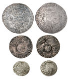 Ancient coins of different metals Stock Photos