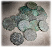Ancient coins of different metals Stock Image