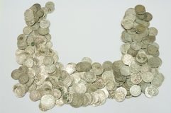 Ancient coins of different metals Stock Photo