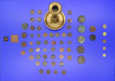 Ancient coins in Museum Stock Photo