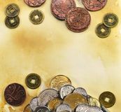 Ancient coins on paper background Stock Image