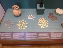 Ancient coins. The coins are the part of a Hermitage exposition Royalty Free Stock Image