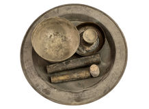 Ancient collection brass bowl chinaware Royalty Free Stock Images