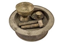 Ancient collection brass bowl chinaware Stock Images