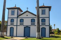 Ancient colonial church in Pirenopolis. Ancient colonial church. Colonial church in the center of the old city of Pirenopolis, in the state of Goias, Brazil stock photos