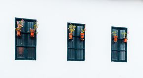 Ancient and colonial windows in Belén passage of the city of Cajamarca Peru stock photo