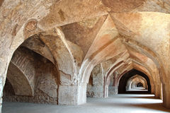Ancient colonnade. Mandu, India Stock Photos