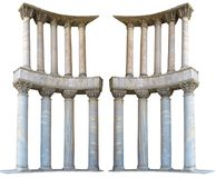 Ancient colonnade marble stone columns isolated on white backgro Stock Images