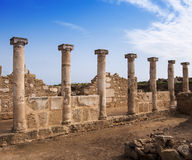 Ancient Colonnades in Cyprus. Ancient ruins featuring colonnades with blue sky Royalty Free Stock Photos