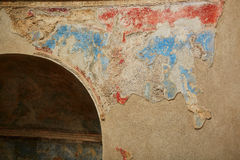 Ancient color wall paintings frescos in Pompeii, Italy. Ancient color wall paintings frescos in Pompeii, Roman town near modern Naples destroyed and buried under stock photography