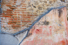 Ancient color wall paintings frescos in Pompeii, Italy. Ancient color wall paintings frescos in Pompeii, Roman town near modern Naples destroyed and buried under stock photo
