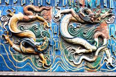 Ancient colorful dragons, Pingyao, China. Ancient colorful dragons at a temple in Pingyao, China royalty free stock image