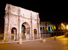Ancient Colosseum and Triumphal arch. Rome. Royalty Free Stock Photography