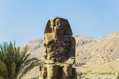 Ancient Colossi of  Memnon in Luxor, Egypt Royalty Free Stock Photos
