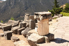 Ancient column in Delphi, Greece Royalty Free Stock Photo
