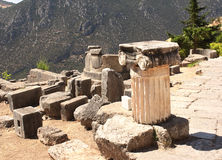 Ancient column in Delphi, Greece Stock Images
