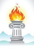 Ancient column and fire Royalty Free Stock Photo