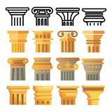 Ancient Column Icon Set Vector. Architecture Roman Symbol. Ancient Pillar. Greece Building. Rome Culture. Old Graphic stock illustration
