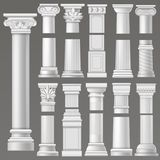 Ancient column vector historical antique column or classic pillar of historic roman architecture illustration ancientry. Architectural set of rome or greek royalty free illustration