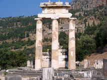 Ancient columns. Ancient column of gymnastic academy in Delphi royalty free stock image