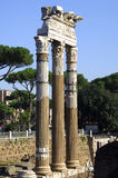 Ancient columns. With corinthian capital Forum Romanum Rome Italy Royalty Free Stock Photography