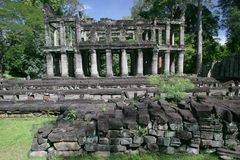 Ancient columns. Ruined stone columns in ancient Angkor in Cambodia Stock Images