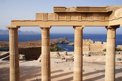 Ancient columns on Acropolis  in Lindos Stock Photo