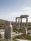 Ancient columns in the archeologic site of Delos Stock Photo