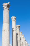 Ancient columns on blue sky background, Izmir, Turkey Stock Photos