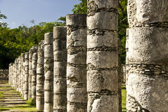 Ancient Columns at Chichen Itza Mexico Stock Photos