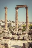 Ancient columns in the citadel of Amman royalty free stock images