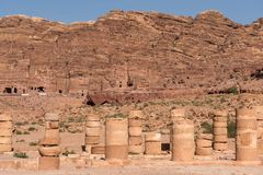 Ancient columns on the Colonnaded street in Petra, Jordan. Ancient columns on the Colonnaded street in Petra archaeological park, Jordan Royalty Free Stock Photo