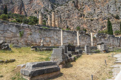 Ancient columns at Delphi in Greece Stock Photos